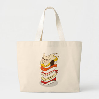 Japanese sushi night for the cute French Bulldog Large Tote Bag