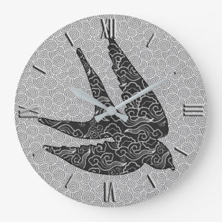Japanese Swallow in Flight, Charcoal & Light Gray Large Clock
