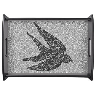 Japanese Swallow in Flight, Charcoal & Light Gray Serving Tray