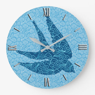 Japanese Swallow in Flight, Cobalt and Pale Blue Large Clock