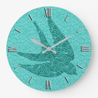 Japanese Swallow in Flight, Turquoise and Aqua Large Clock