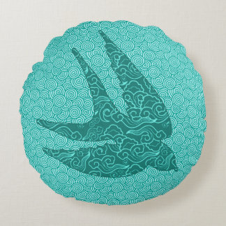 Japanese Swallow in Flight, Turquoise and Aqua Round Pillow