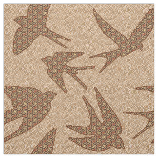Japanese Swallows in Flight, Brown and Beige Fabric