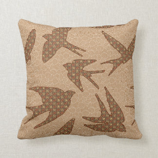 Japanese Swallows in Flight, Brown and Beige Throw Pillow