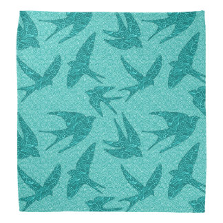 Japanese Swallows in Flight, Turquoise and Aqua Bandana