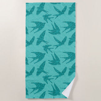 Japanese Swallows in Flight, Turquoise and Aqua Beach Towel