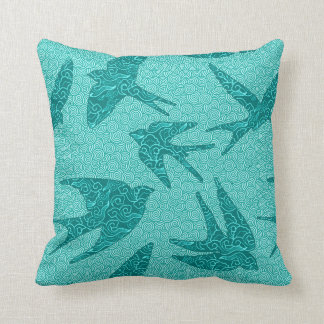 Japanese Swallows in Flight, Turquoise and Aqua Throw Pillow