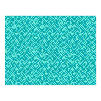 Japanese swirl pattern - turquoise and aqua postcard