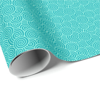 Japanese swirl pattern - turquoise and aqua wrapping paper