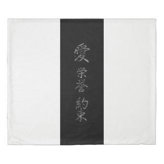 Japanese Symbol: Love Honor Promise Duvet Cover