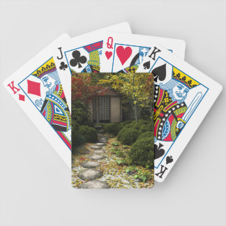 Japanese Tea House and Garden in Autumn Bicycle Playing Cards