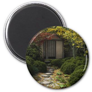 Japanese Tea House and Garden in Autumn Magnet