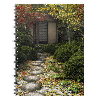 Japanese Tea House and Garden in Autumn Notebook