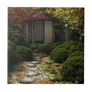 Japanese Tea House and Garden in Autumn Tile