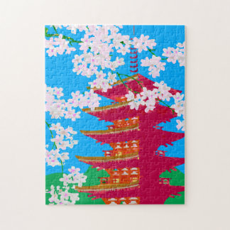 Japanese temple with cherry blossom jigsaw puzzle