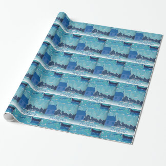 Japanese Thank You Blue Boat Collage Wrap Paper