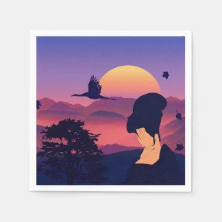 Japanese Theme Geisha Tree And Rising Sun Paper Napkins