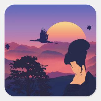 Japanese Theme Geisha Tree And Rising Sun Square Sticker
