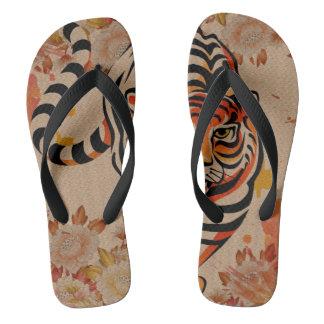 japanese tiger art flip flops