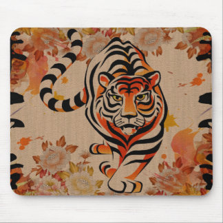 japanese tiger art mouse pad