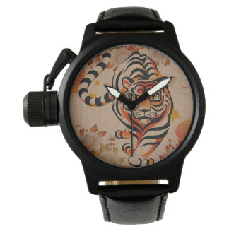 japanese tiger art wristwatch