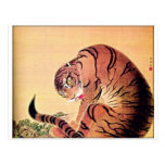 Japanese Tiger Woodblock Vintage Art Ukiyo-E Postcard