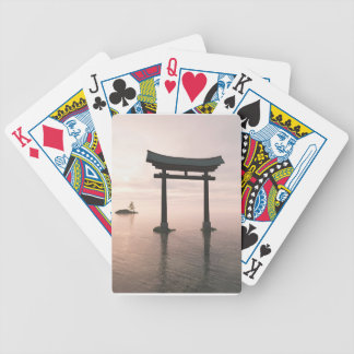 Japanese Torii Gate at a Shinto Shrine, Evening Bicycle Playing Cards