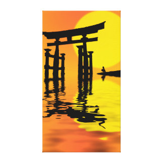 Japanese Torii (gate) sunset drawing Canvas Print