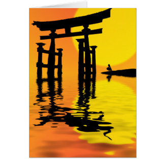 Japanese Torii (gate) sunset drawing Card