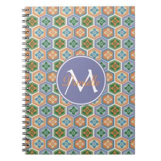 Japanese Tortoiseshell Honeycomb Lavender Orange Spiral Notebook