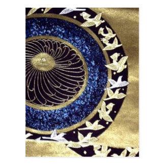Japanese Traditional kimono pattern swans Postcard