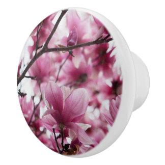 Japanese Tulip Floral Ceramic Knob