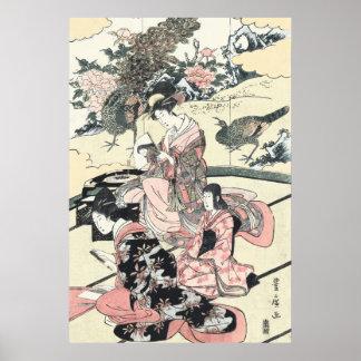 Japanese Ukiyo-e Daimyo no okuzashiki by Toyohiro Poster