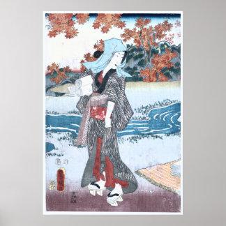 Japanese Ukiyo-e Momiji to onna by Kunisada Poster