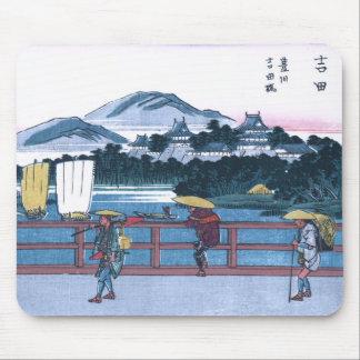 Japanese Ukiyo-e of Yoshida Bridge by Hiroshige Mouse Pad