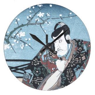 Japanese Ukiyo-e Winter Kabuki Actor by Kunisada Large Clock