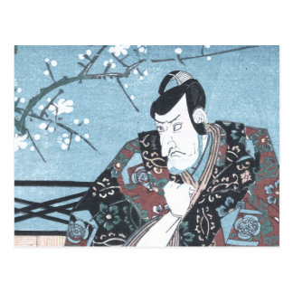 Japanese Ukiyo-e Winter Kabuki Actor by Kunisada Postcard