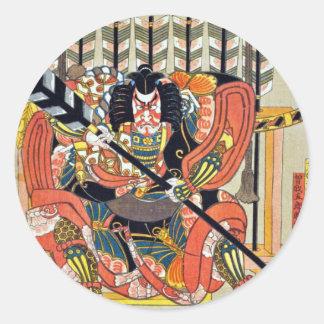 Japanese ukiyoe art (kunisada utagawa) classic round sticker