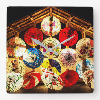 Japanese umbrella square wall clock