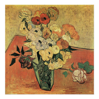 Japanese vase, roses and anemones-Vincent van Gogh Poster