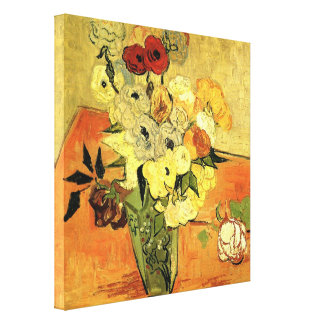 Japanese Vase with Roses and Anemones by van Gogh Canvas Print