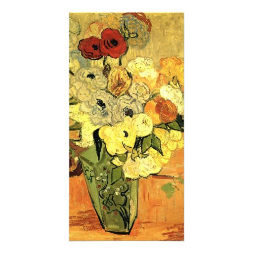 Japanese Vase with Roses and Anemones by van Gogh Photo Card