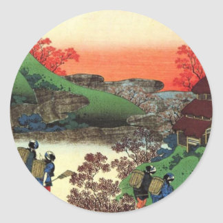 Japanese Village Classic Round Sticker