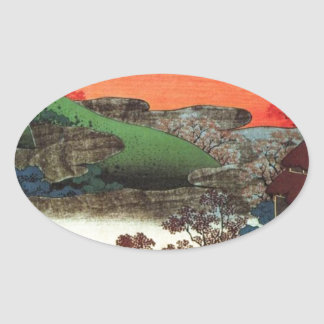 Japanese Village Oval Sticker