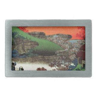 Japanese Village Rectangular Belt Buckle