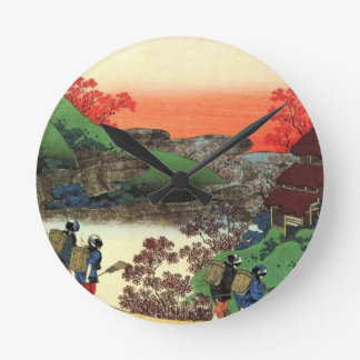 Japanese Village Round Clock