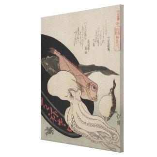 Japanese Vintage Art Seafood Bounty Canvas Print