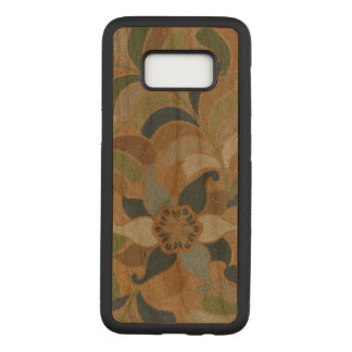 Japanese Vintage Floral Blue Brown Embroidered Carved Samsung Galaxy S8 Case