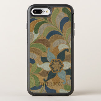 Japanese Vintage Floral Blue Brown Embroidered OtterBox Symmetry iPhone 7 Plus Case