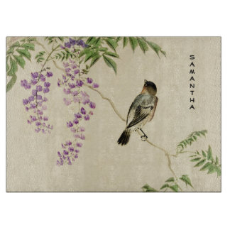 Japanese Vintage Lilac Sparrow Glass Cutting Board